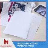 Papel ligero de traspaso térmico de la prensa del calor de la camiseta para la materia textil de algodón