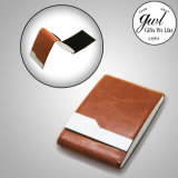 Suporte de cartão de couro personalizado Abra dois lados