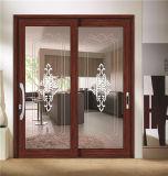 Portes coulissantes d'aluminium de double vitrage de son et d'isolation thermique