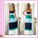 Vente en gros de femmes personnalisées 100% coton multicolores à rayures longues robe maxi