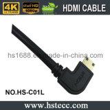 Alta velocidad de ángulo recto \ Grado mini cable HDMI V1.4 V2.0 90 a la izquierda para HDTV DVD