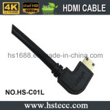 À angle droit à grande vitesse \ a laissé 90 le mini HDMI câble du degré V2.0 V1.4 pour DVD TVHD