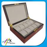 Qualitäts-Steuerglänzender glatter Klavier-Lack-rotbrauner Luxuxuhr-Ablagekasten mit Verschluss