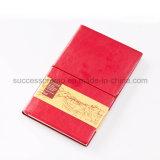 Cuaderno Softcover famoso de la PU de la marca de fábrica A5 de Debossed de la manera