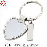 Trousseau de clés blanc fait sur commande en métal de forme de coeur de promotion