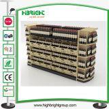 Supermarkt-hölzerne Wein-Bildschirmanzeige-Zahnstange