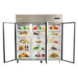 refrigerador de la cocina del acero inoxidable de las puertas 1390L tres