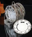Estante plateado plata de la tostada con el plato seises (TK72326)