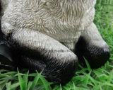 Decoración realista de interior de los animales del cordero del jardín de la estatua al aire libre negra y blanca del ornamento