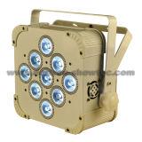 Diodo emissor de luz DMX sem fio 9X8w RGBW 4 in-1 da bateria
