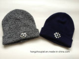 Donna Knitted Winter Hat con Jewels (HQW16045)