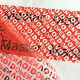 Cinta de encargo del vacío de la seguridad para el cartón del sello; Cinta vacía antirrobo