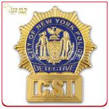 Divisa plateada oro brillante por encargo de la policía del emblema del metal