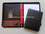 Embossed nero Zippered Leather Padfolio per School