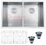 acier inoxydable de pouce 29X19 sous le bassin de cuisine fabriqué à la main de cuvette de double d'égale de support
