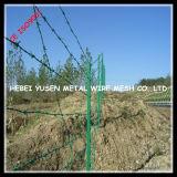 El plástico verde (PVC) cubrió el cercado del alambre
