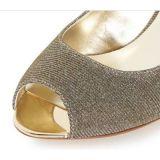 Zapato medio de las mujeres del talón del ajuste del metal de Gliter