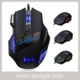 Mouse ottico del calcolatore di gioco collegato USB 3200/5500dpi con indicatore luminoso respirante