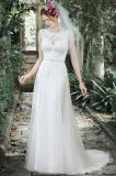 Vestiti da cerimonia nuziale Mint puri del merletto di Tulle degli abiti nuziali del Neckline della barca W176281