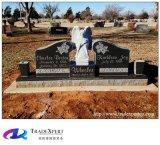 Angeli intagliati pietra tombale dritta Brunet del granito e monumento di combinazione del vaso