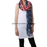 Женщины белые и голубой шарф американского флага длинний