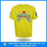 T-shirt mince de T-shirts de Mens d'ajustement estampé par jaune en gros