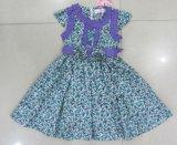 花の服のフロックで子供の衣服の子供の摩耗の服に着せている女の子