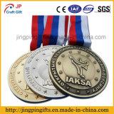 Medaglia in lega di zinco personalizzata di sport del premio del ricordo con il nastro