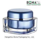 Vaso acrilico quadrato blu con la protezione rotonda per crema