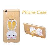 Huawei P9 (XSDD-051)のためのロープが付いているかわいいウサギのダイヤモンドの耳のホールダーTPUの携帯電話の箱