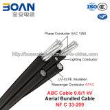 Câble d'ABC, câble empaqueté aérien, 0.6/1 kilovolt (N-F C 33-209)