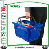 Escolhir a cesta de compra plástica do punho com o logotipo impresso