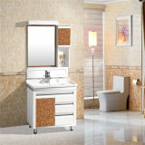 Qualität PVC-Badezimmer-Schrank, keramisches Bassin, silberner Spiegel