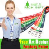 Acollador promocional de la tarjeta de la identificación de la impresión del poliester del regalo con el clip del metal