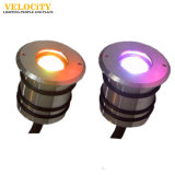 cor do aço inoxidável IP68 de 24V 1With3W que muda a lâmpada da piscina de RGB/RGBW
