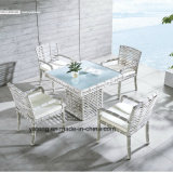 Great Waterproof Outdoor Durable Dining Table com grande cadeira de tecido de ratão sintético (YT663)