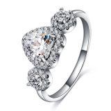 Tres anillos de piedra de la promesa del corazón para las mujeres (CRI0308-B)