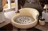 A base redonda Tufted luxuosa do couro genuíno ajustou-se para o quarto (LB-001)