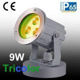 9W三色LEDの庭ライト、9W土台ベースが付いているフルカラーRGB LEDの景色ライト