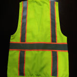 Het Vest van de veiligheid met de Weerspiegelende Stof van de Keperstof van de Band 100%Polyester van de Voorzichtigheid met 4 Zakken