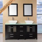 Vanidad grande del cuarto de baño de madera sólida de la talla, cabina de cuarto de baño moderna