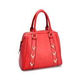 Rote Damen PU-lederne Handtasche mit goldenem Harware