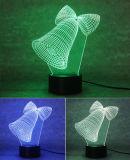 lampe de Bell de Noël 3D, lumière de nuit d'illusion optique pour la pépinière/décor/salle de séjour, cadeaux romantiques colorés de Noël de lampe de nuit de DEL pour des gosses