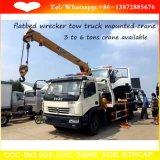 3 tonnes 5 tonnes de remorquage de grue montée par dépanneuse à plat de camion