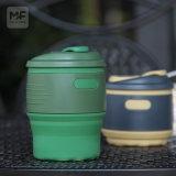 Kundenspezifische umweltfreundliche Silikon-Kaffeetasse mit Silikon-Kappe