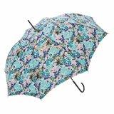 زهرة طبع مظلة مستقيمة مع خطّاف جلد مقبض
