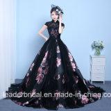 Платья вечера Z1016 партии шнурка пинка черноты мантии шарика выпускного вечера флоры печатание