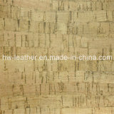 Cuero de madera de la PU de los muebles del grano del Faux para el escritorio del vector del suelo (HW-737)
