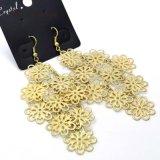 금 색깔 구렁 꽃 여자를 위한 긴 하락 귀걸이