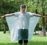 Wegwerf Zeit PET Regen-Kap-Poncho-Förderung-Firmenzeichen-Drucken-Regen-Poncho